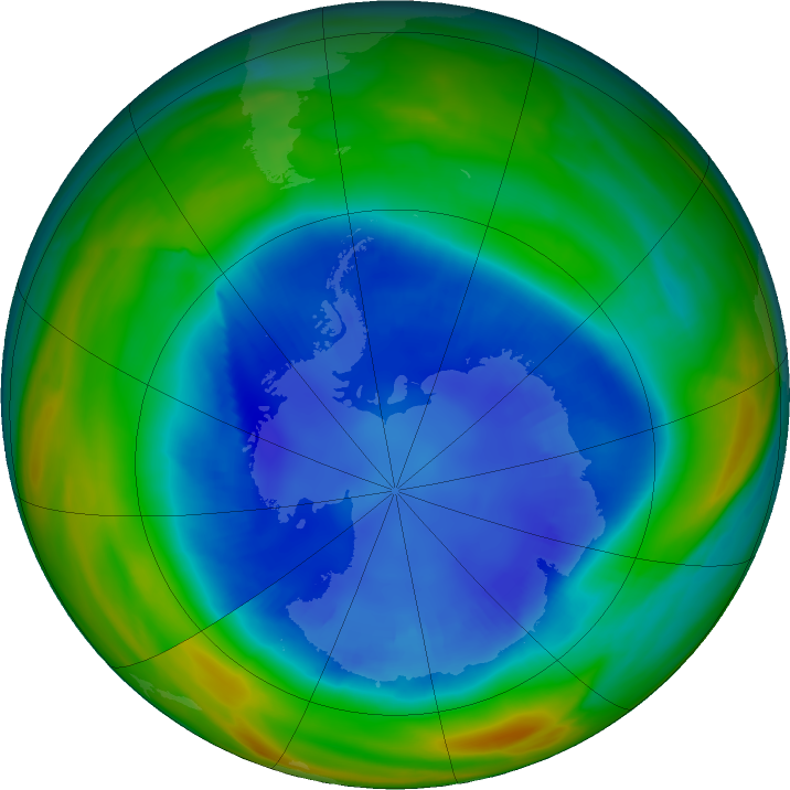 Antarctic ozone map for 27 August 2018
