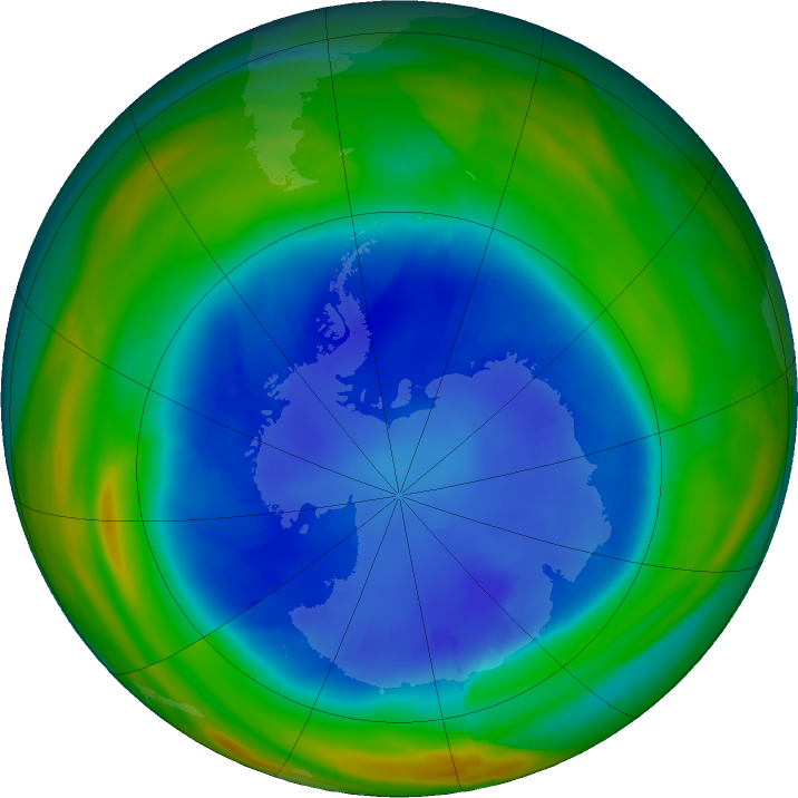 Antarctic ozone map for 28 August 2018