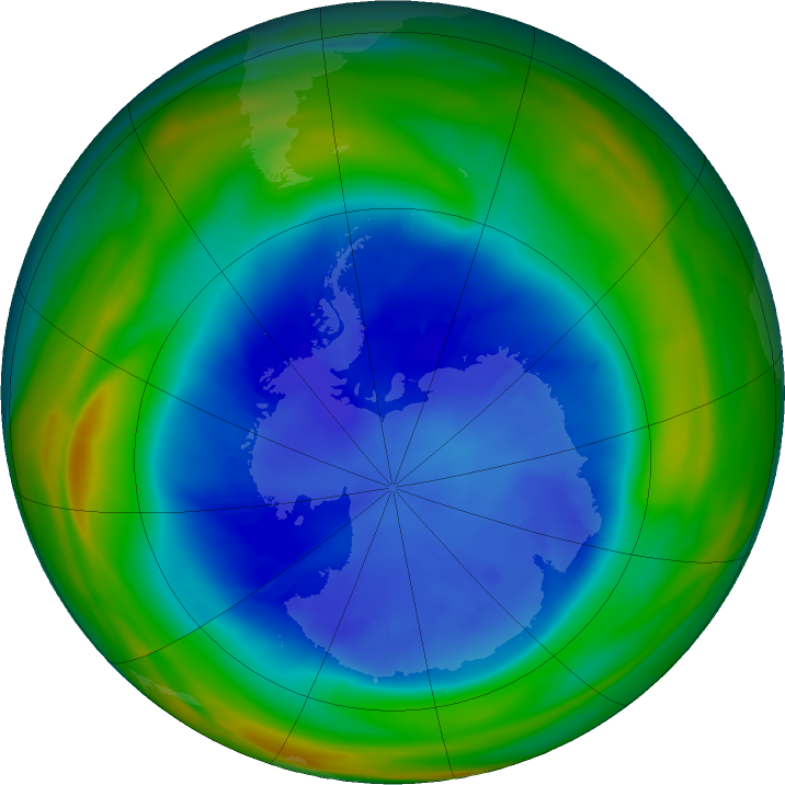 Antarctic ozone map for 29 August 2018