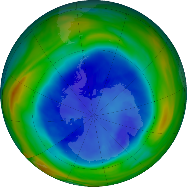 Antarctic ozone map for 30 August 2018