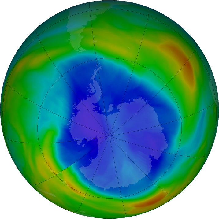 Antarctic ozone map for 03 September 2018