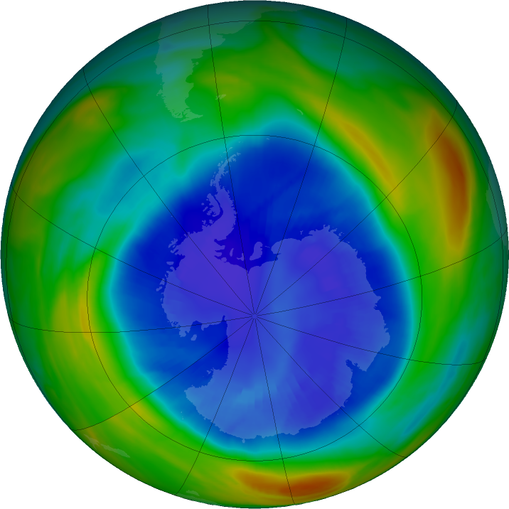 Antarctic ozone map for 04 September 2018