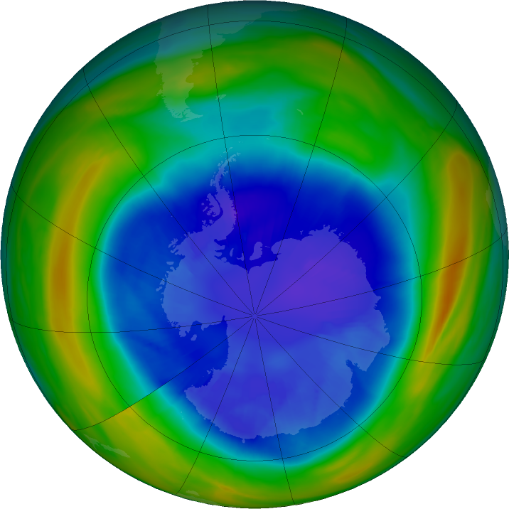 Antarctic ozone map for 06 September 2018