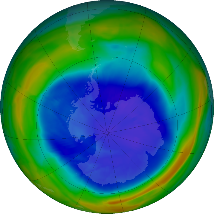 Antarctic ozone map for 07 September 2018