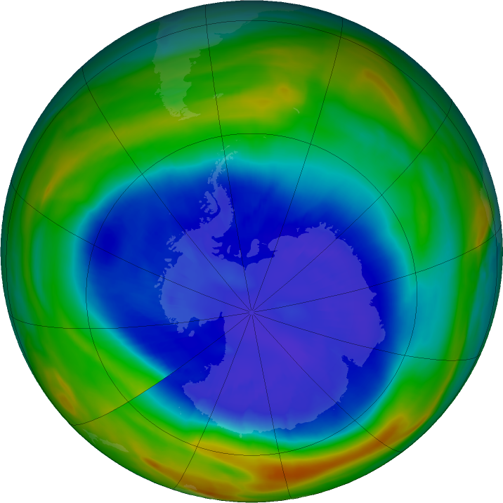 Antarctic ozone map for 08 September 2018