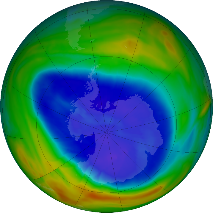 Antarctic ozone map for 09 September 2018