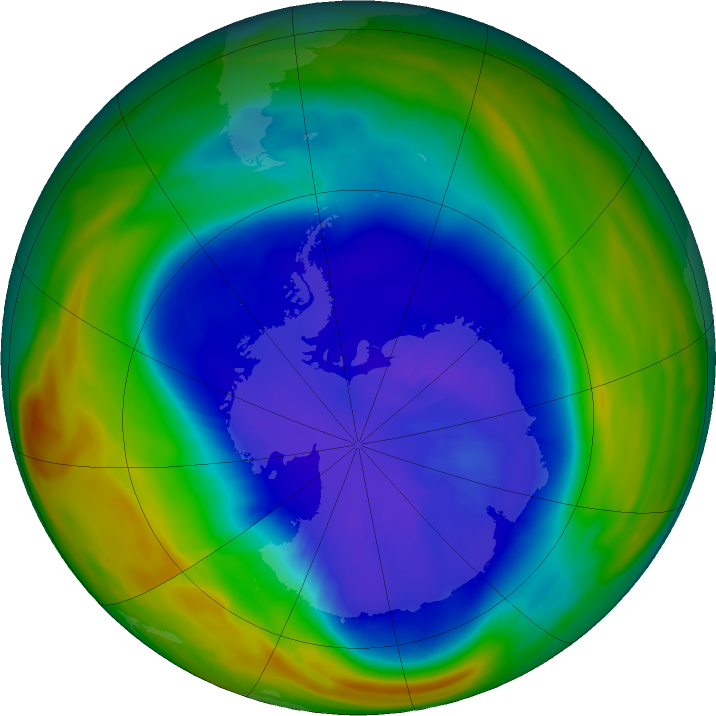 Antarctic ozone map for 13 September 2018