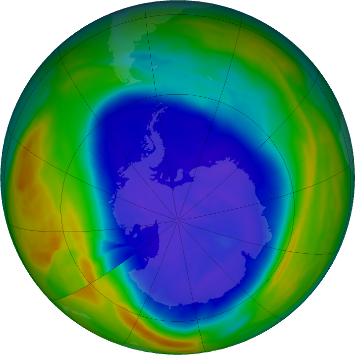 Antarctic ozone map for 14 September 2018