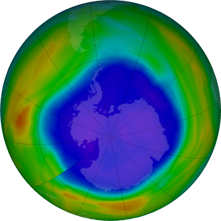 Antarctic ozone map for 16 September 2018