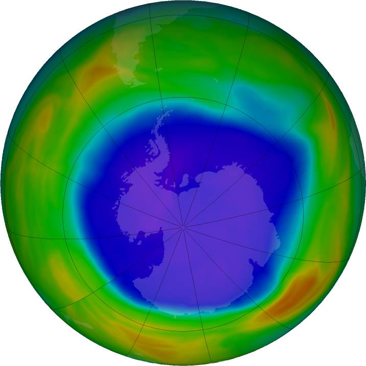 Antarctic ozone map for 18 September 2018