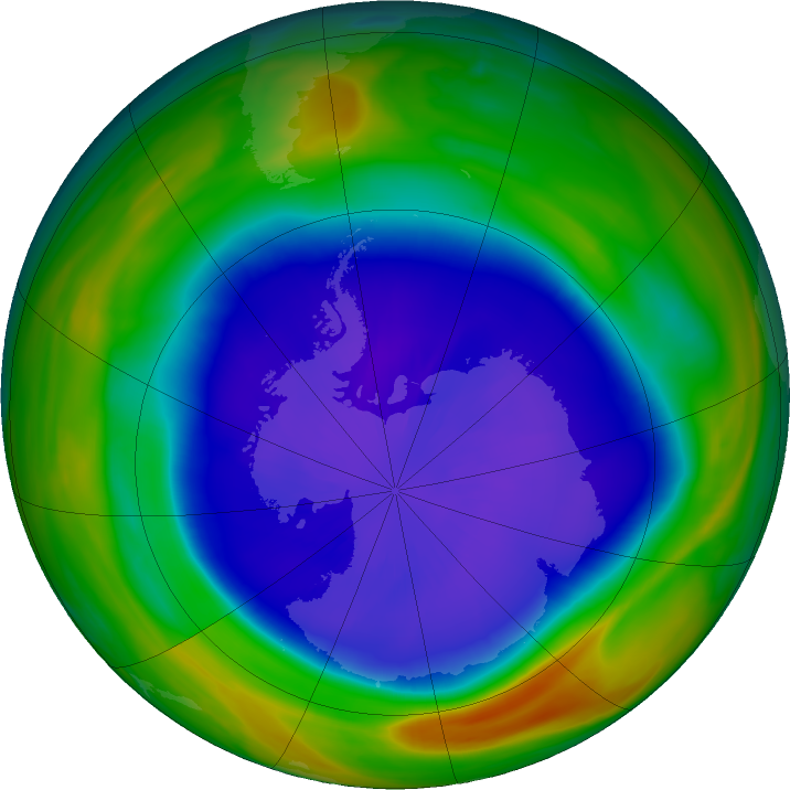 Antarctic ozone map for 19 September 2018