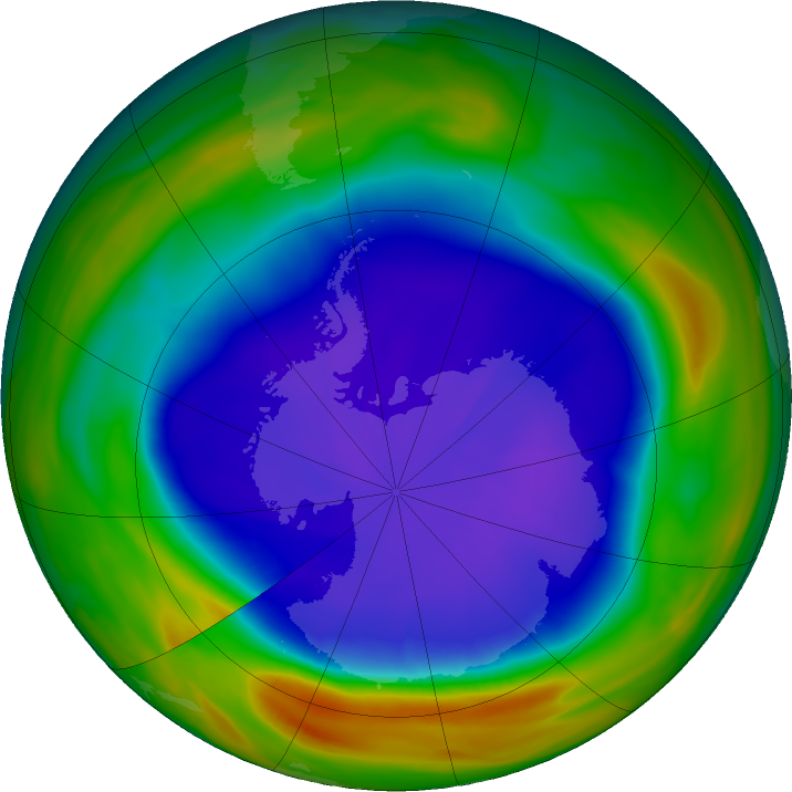 Antarctic ozone map for 20 September 2018