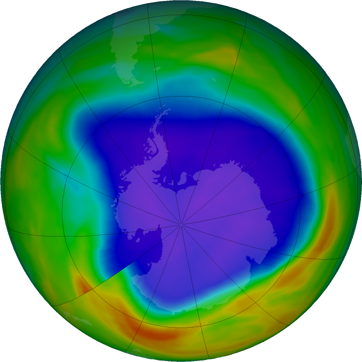 Antarctic ozone map for 22 September 2018