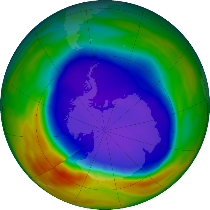 Antarctic ozone map for 25 September 2018