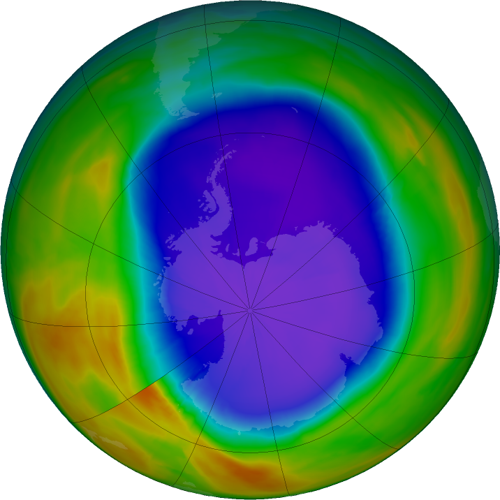 Antarctic ozone map for 27 September 2018