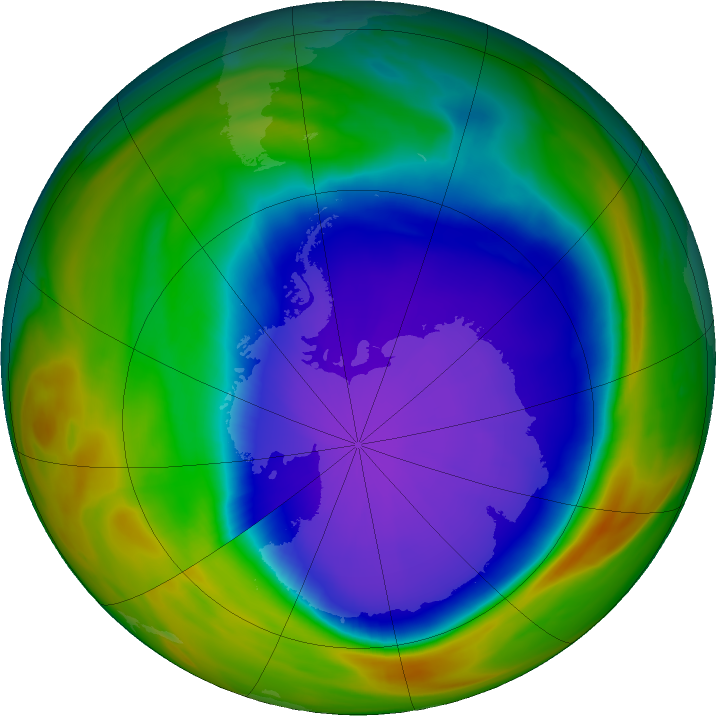 Antarctic ozone map for 30 September 2018
