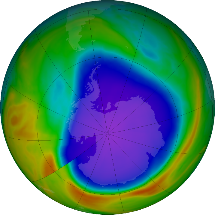 Antarctic ozone map for 01 October 2018