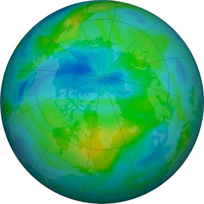 Arctic ozone map for 02 October 2018