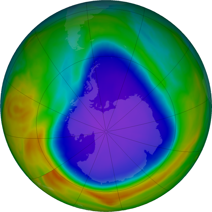 Antarctic ozone map for 02 October 2018
