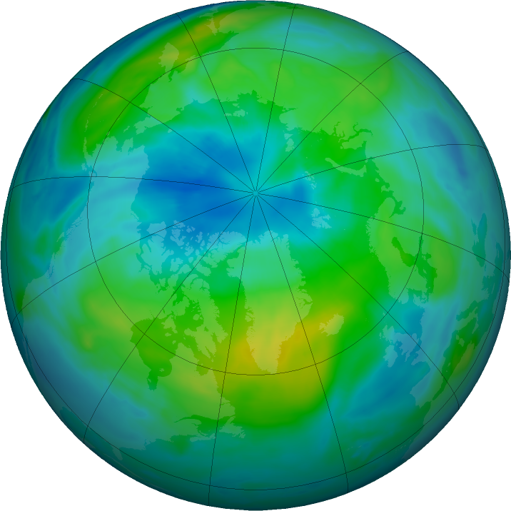 Arctic ozone map for 03 October 2018