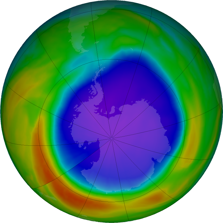 Antarctic ozone map for 04 October 2018