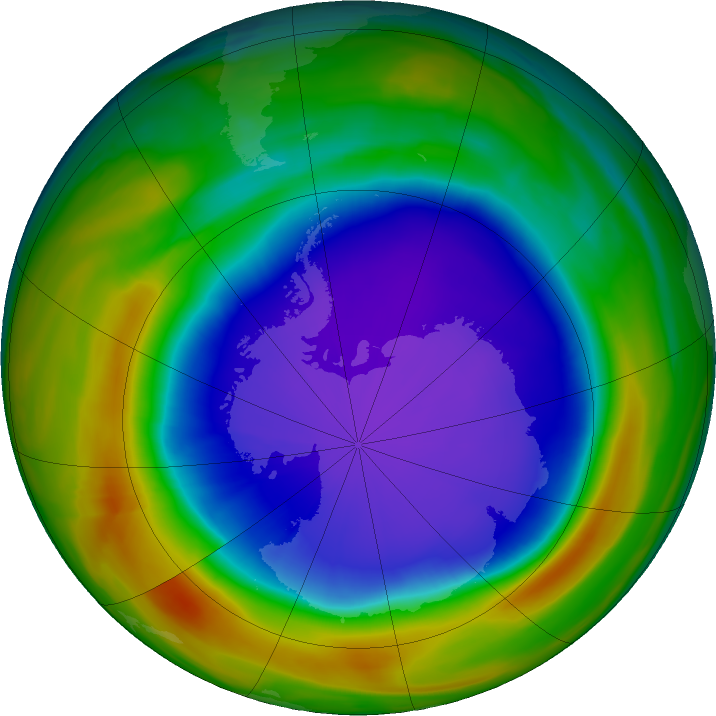 Antarctic ozone map for 05 October 2018