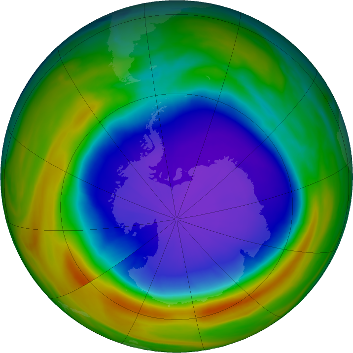 Antarctic ozone map for 06 October 2018