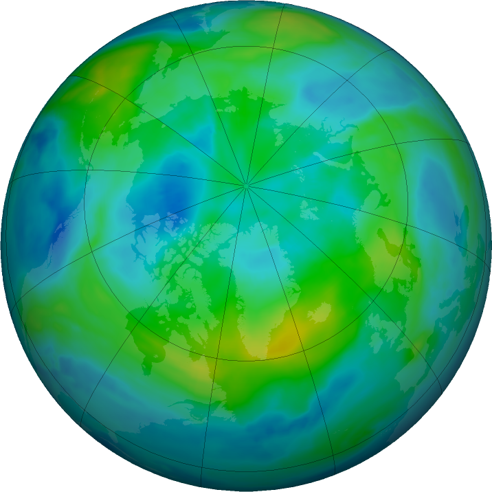 Arctic ozone map for 07 October 2018