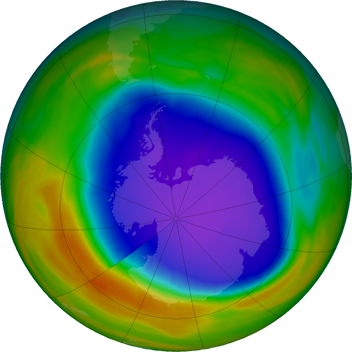 Antarctic ozone map for 08 October 2018