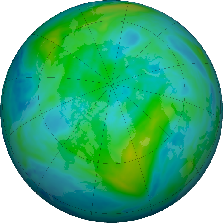 Arctic ozone map for 09 October 2018