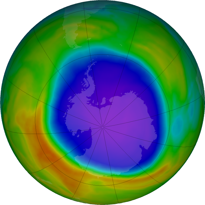 Antarctic ozone map for 09 October 2018