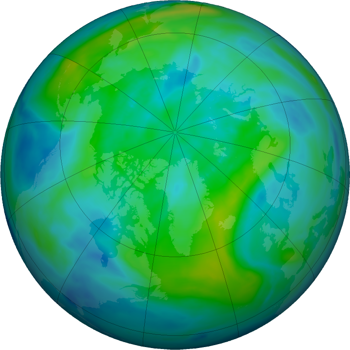 Arctic ozone map for 10 October 2018