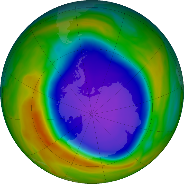 Antarctic ozone map for 10 October 2018