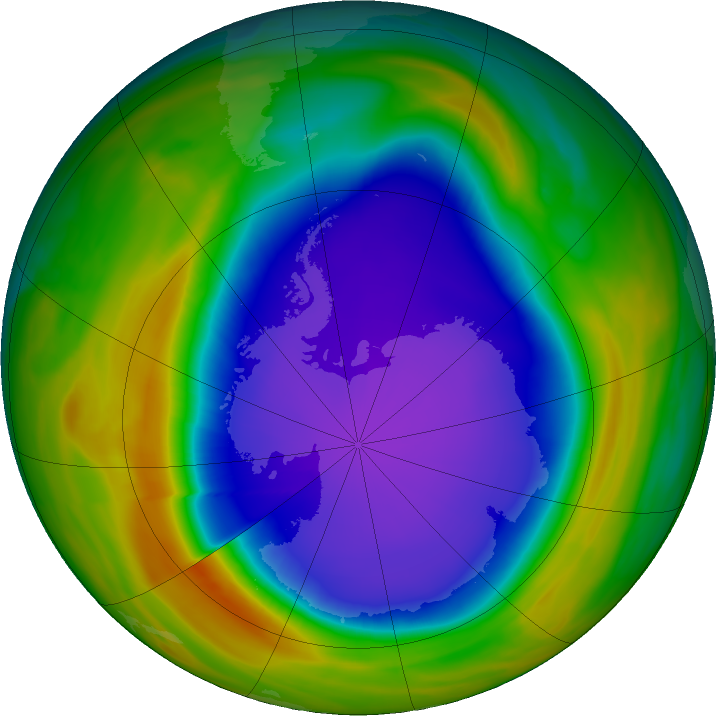 Antarctic ozone map for 11 October 2018