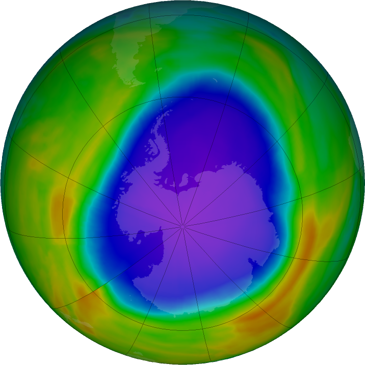 Antarctic ozone map for 12 October 2018