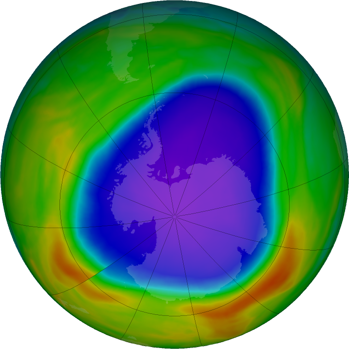 Antarctic ozone map for 13 October 2018