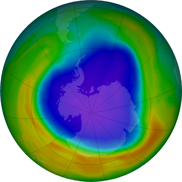 Antarctic ozone map for 26 October 2018