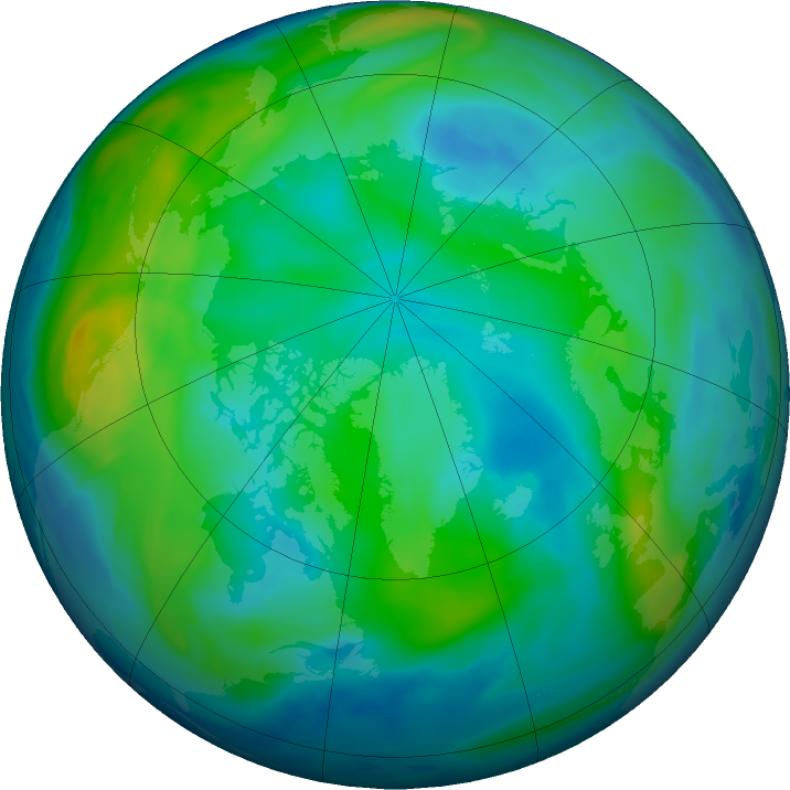 Arctic ozone map for 28 October 2018
