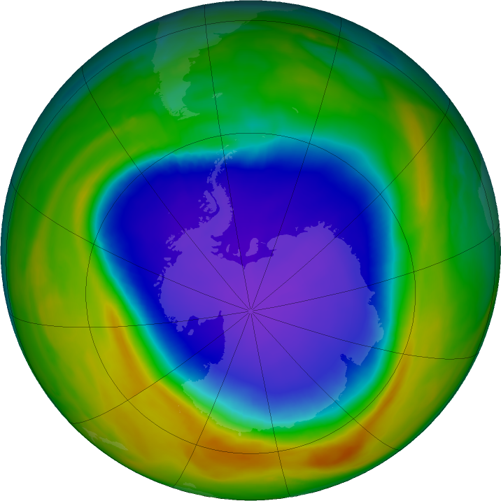 Antarctic ozone map for 28 October 2018