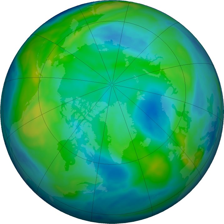 Arctic ozone map for 29 October 2018