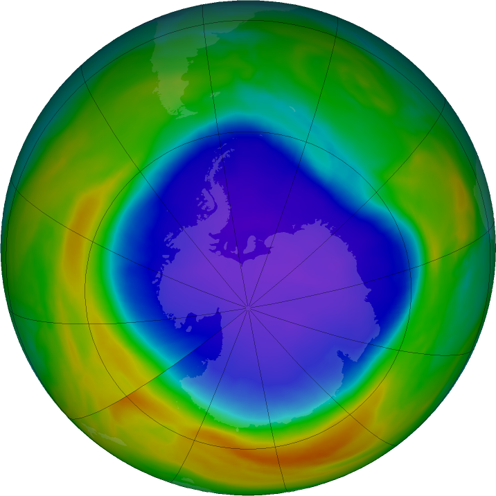 Antarctic ozone map for 30 October 2018