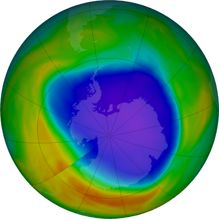 Antarctic ozone map for 31 October 2018