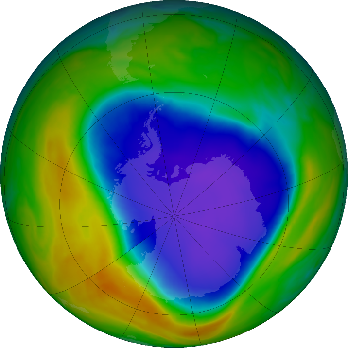 Antarctic ozone map for 01 November 2018