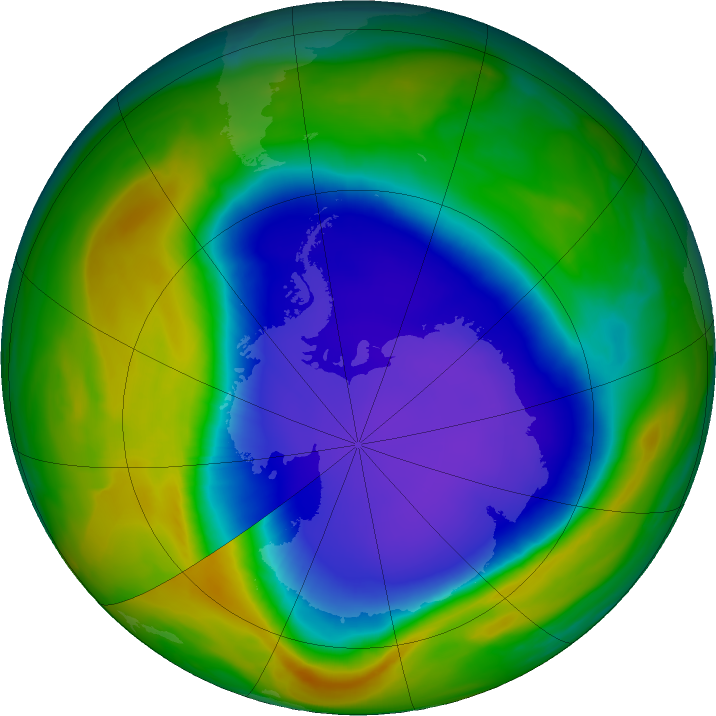 Antarctic ozone map for 02 November 2018