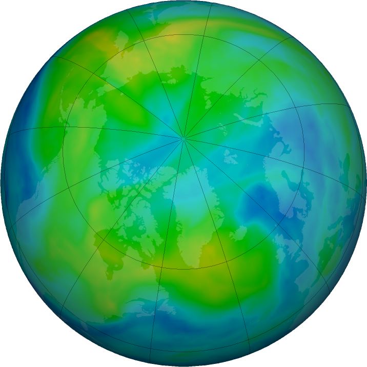Arctic ozone map for 03 November 2018