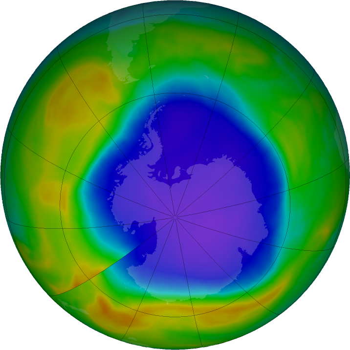 Antarctic ozone map for 03 November 2018