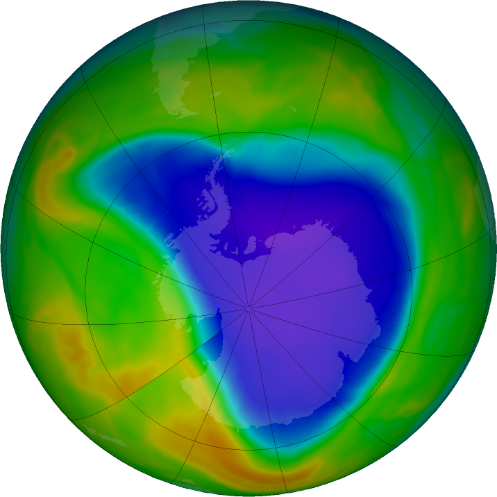 Antarctic ozone map for 05 November 2018