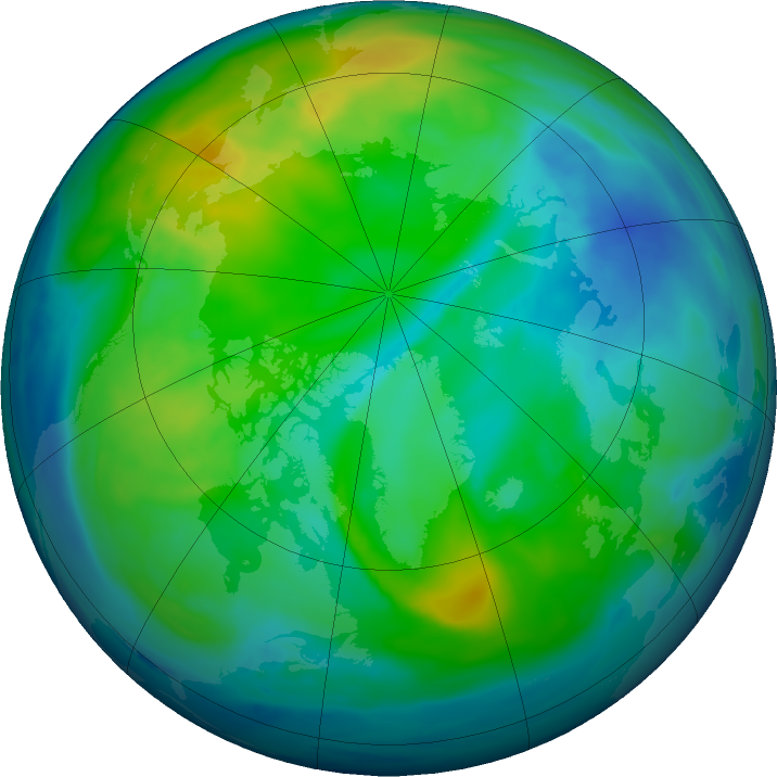 Arctic ozone map for 06 November 2018