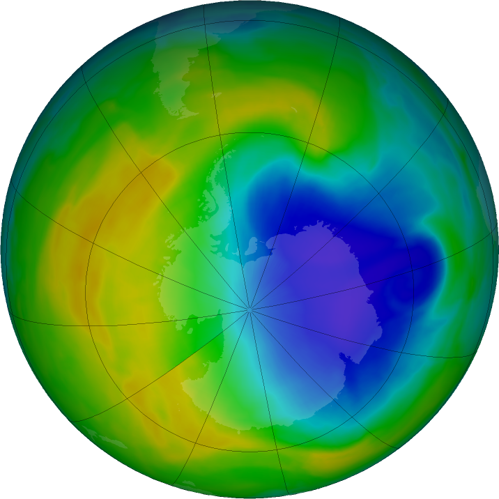 Antarctic ozone map for 17 November 2018