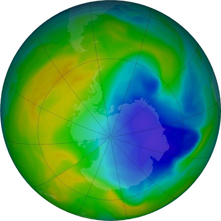 Antarctic ozone map for 18 November 2018